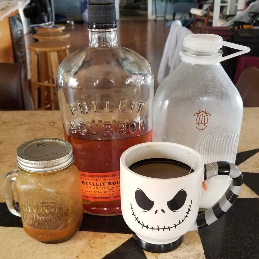 Homemade Chai Tea with Pumpkin Spice Syrup and Bourbon